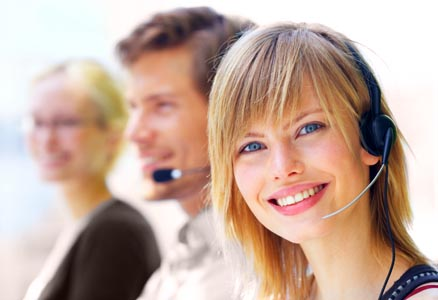 Call center agents at work, as an example for business service projects